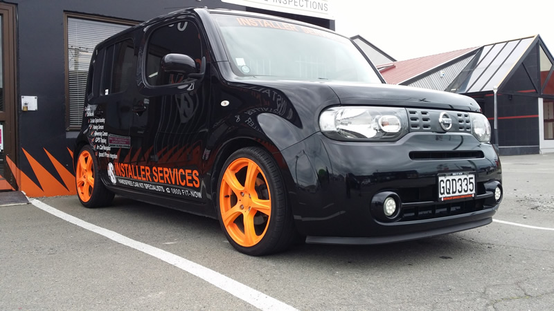 Blaze orange wheels by Installer Services.