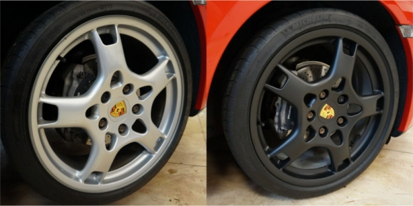 Before and after of Porsche rims Plasti Dipped matte black by Car Folie
