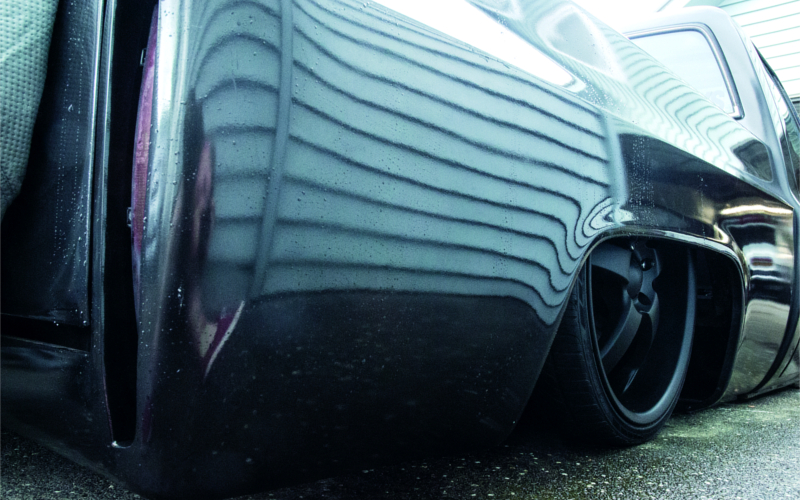 Black Plasti Dip rim as featured in Performance Car.